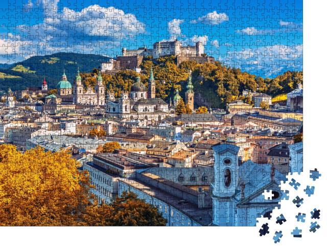 """Puzzle 1000 Teile """"Salzburger Skyline mit Festung Hohensalzburg im Herbst, Österreich"""""""