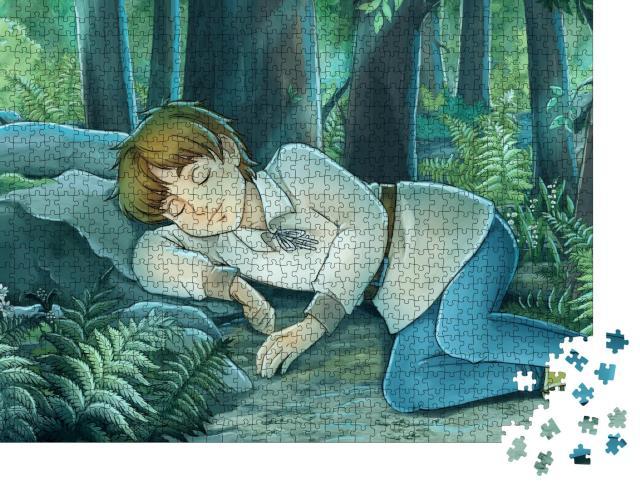 """Puzzle 1000 Teile """"Märchenhafte Illustration: Junge schläft friedlich im Wald"""""""