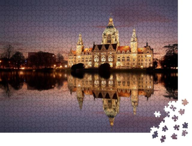 """Puzzle 1000 Teile """"Rathaus Hannover bei Nacht"""""""