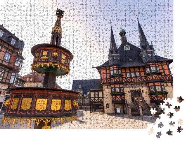 """Puzzle 1000 Teile """"Historisches Rathaus von Wernigerode, Deutschland"""""""