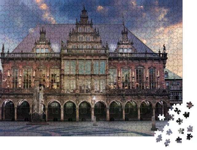 """Puzzle 1000 Teile """"Der Marktplatz von Bremen in der Dämmerung"""""""