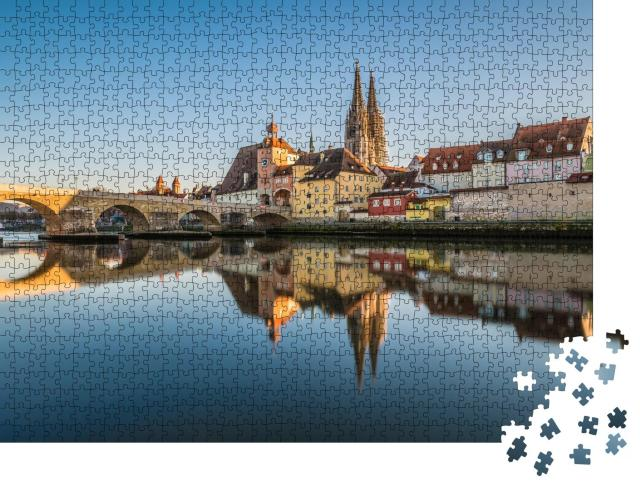 """Puzzle 1000 Teile """"Berühmte Stadtansicht von Regensburg mit Dom St. Peter, Deutschland"""""""