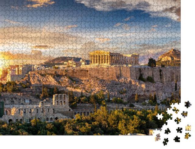 """Puzzle 1000 Teile """"Akropolis von Athen im atemberaubenden Sonnenuntergang, Griechenland"""""""