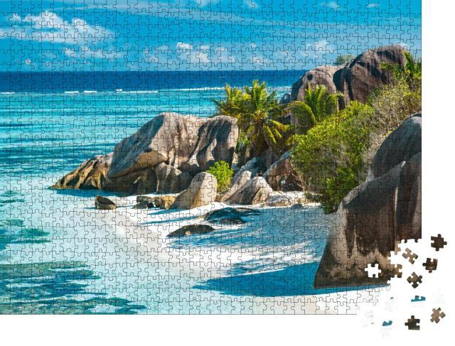 """Puzzle 1000 Teile """"Verzaubert schöner Strand der Seychellen - Anse Source D'Argent"""""""