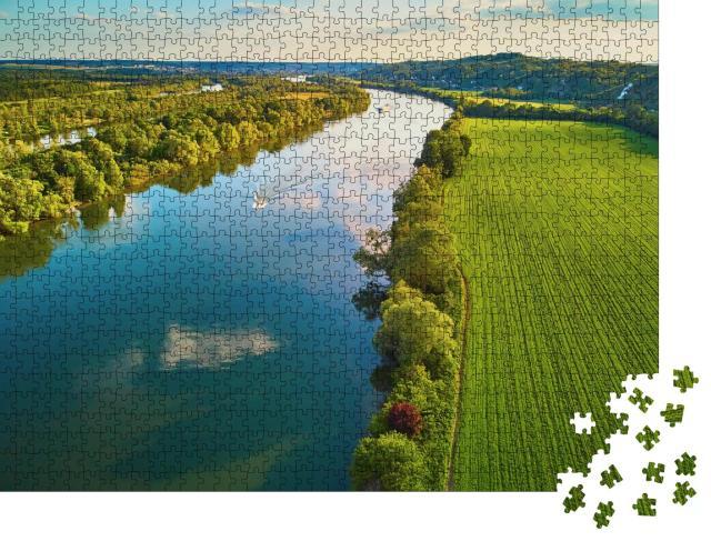 """Puzzle 1000 Teile """"Die Seine in grüner Landschaft, Departement Val d'Oise, Nordfrankreich"""""""