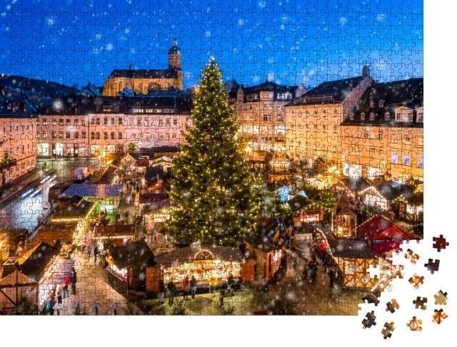 """Puzzle 1000 Teile """"Weihnachtsmarkt in Annaberg-Buchholz im Erzgebirge, Sachsen"""""""