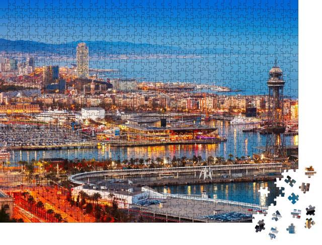 """Puzzle 1000 Teile """"Barcelona Stadt und Hafen am Abend, Spanien"""""""