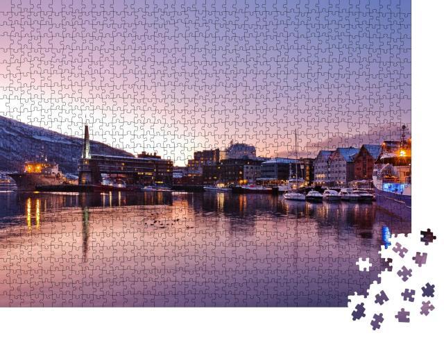 """Puzzle 1000 Teile """"Blick auf einen Yachthafen, Tromso bei Nacht, Norwegen"""""""