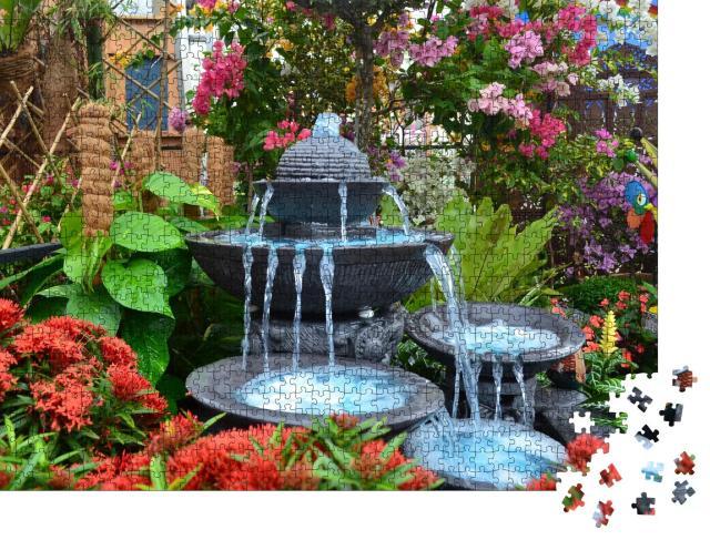 """Puzzle 1000 Teile """"Blaues Wasser fließt aus einem Steinbrunnen"""""""
