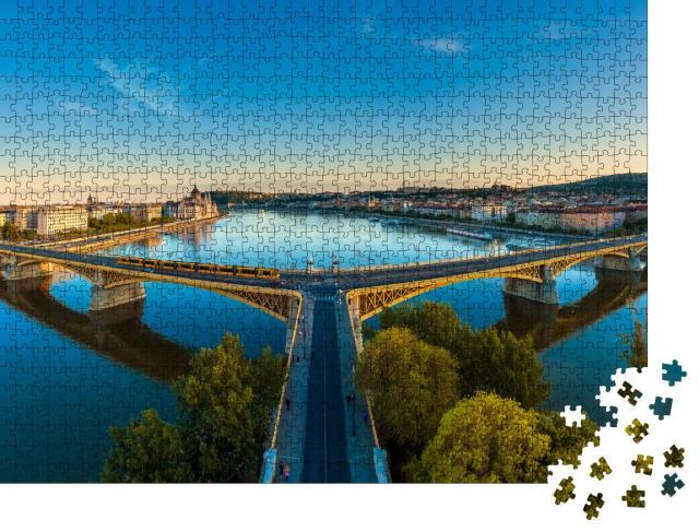 """Puzzle 1000 Teile """"Erstaunliche Panoramafotografie über die Margaretenbrücke in Budapest, Ungarn"""""""
