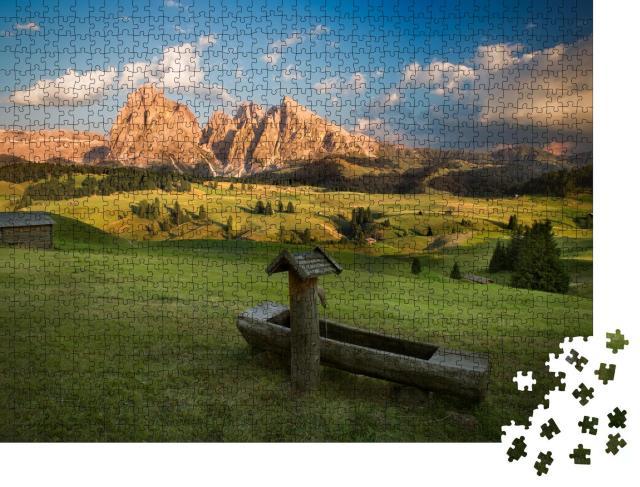 "Puzzle 1000 Teile ""Seiser Alm mit Langkofelgruppe im Sonnenuntergang, Südtirol, Italien"""