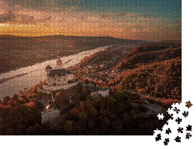 """Puzzle 1000 Teile """"Mittelrheintal: Marksburg im Herbst"""""""
