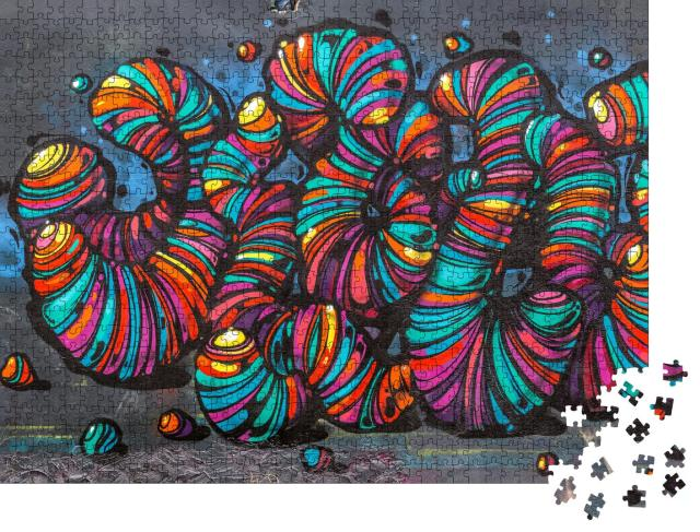 "Puzzle 1000 Teile ""Graffiti Street Art, abstrakte Wurmskulpturen"""