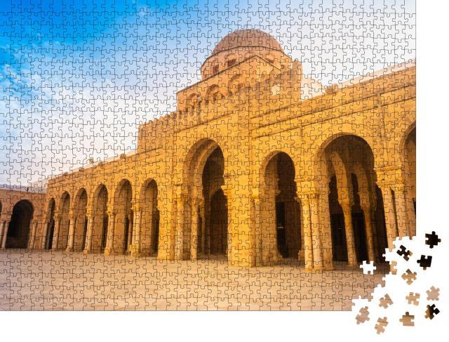 """Puzzle 1000 Teile """"Große Moschee von Kairouan, antikes Bauwerk in der Sahara, Tunesien"""""""