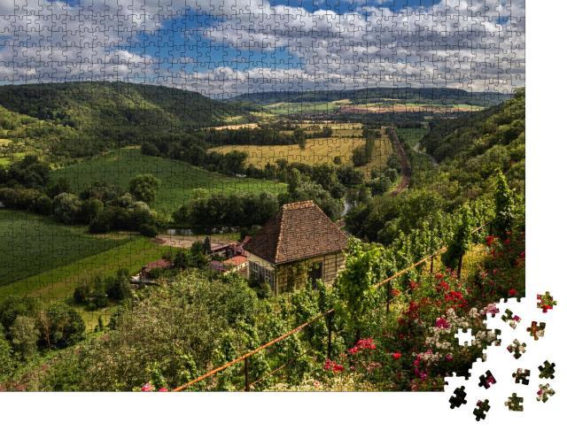 """Puzzle 1000 Teile """"Saale-Tal bei den Dornburger Schlössern, Thüringen, Deutschland"""""""