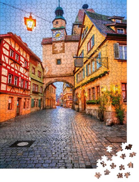 """Puzzle 1000 Teile """"Rothenburg ob der Tauber am Abend, Deutschland"""""""
