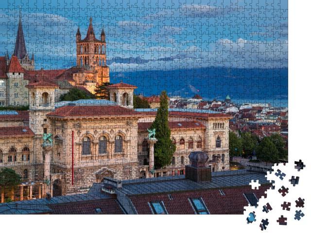 """Puzzle 1000 Teile """"Wunderschönes Stadtbild von Lausanne,  Schweiz"""""""