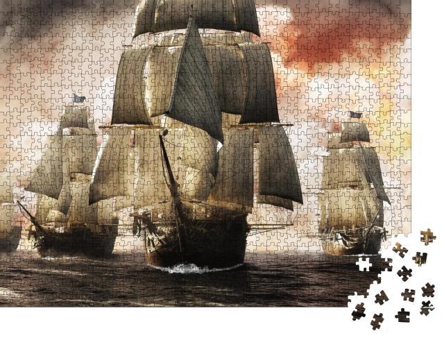 """Puzzle 1000 Teile """"Digitale Kunst: Piratenschiff-Flotte nach erfolgreichen Raubzug"""""""