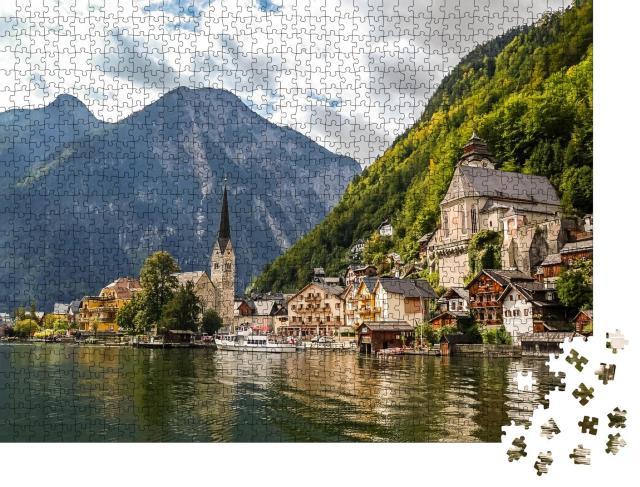 """Puzzle 1000 Teile """"Schönes Panorama von Hallstadt, Österreich"""""""