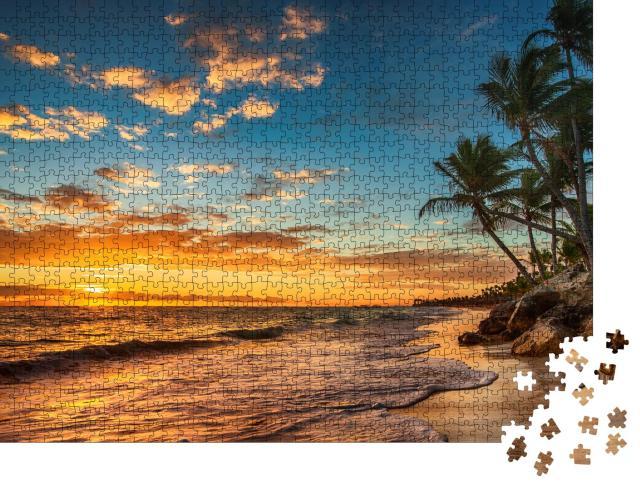 """Puzzle 1000 Teile """"Sonnenaufgang auf einer tropischen Insel"""""""