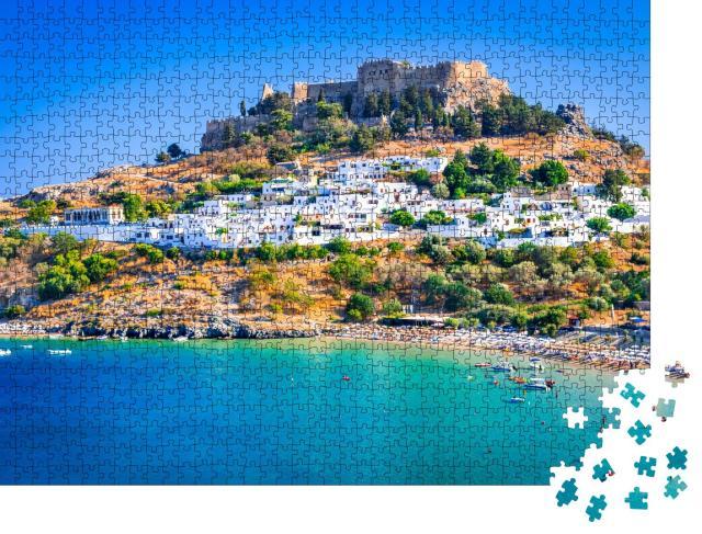 """Puzzle 1000 Teile """"Lindos mit seinen weiß getünchten Häusern, Rhodos, Griechenland"""""""
