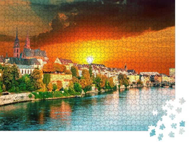 """Puzzle 1000 Teile """"Sonnenuntergang über der Altstadt von Basel am Rhein, Schweiz"""""""