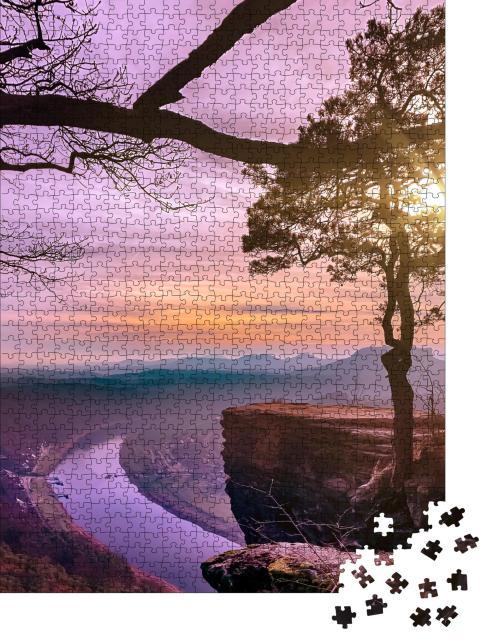 """Puzzle 1000 Teile """"Sonnenuntergang mit Blick auf die Elbe in der Sächsischen Schweiz, Deutschland"""""""