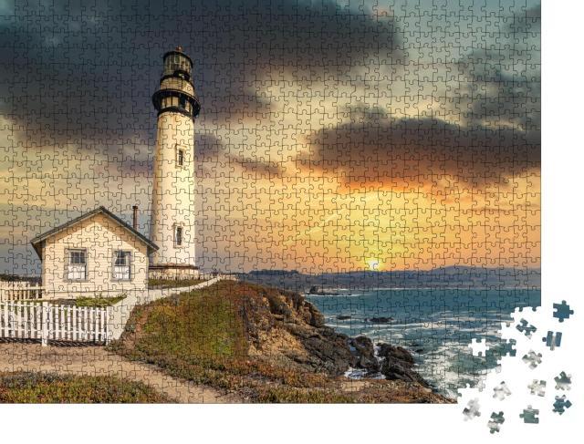 """Puzzle 1000 Teile """" Leuchtturm von Pigeon Point an der Pazifikküste in Kalifornien"""""""