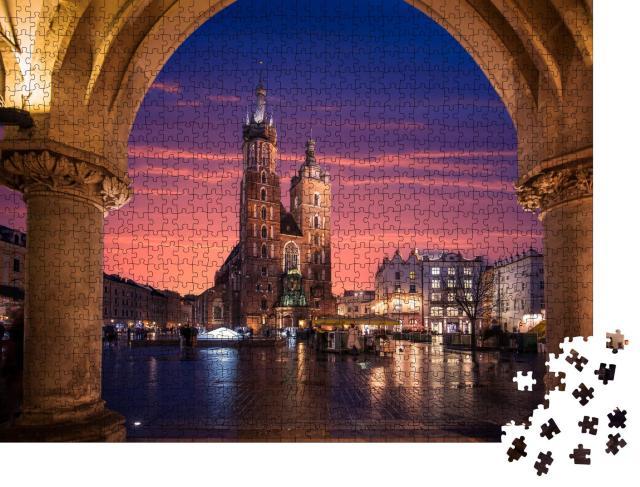"""Puzzle 1000 Teile """"Kirche der Altstadt von Krakau mit Beleuchtung, Polen"""""""