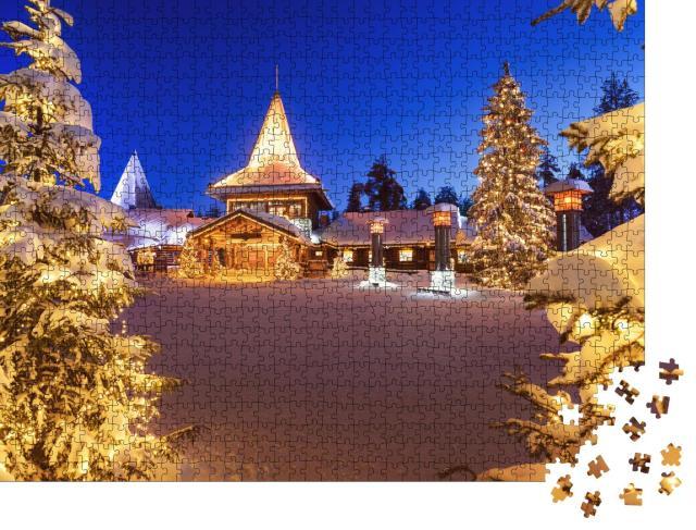 """Puzzle 1000 Teile """"Weihnachtsmanndorf in Rovaniemi in Lappland im Winter, Finnland"""""""