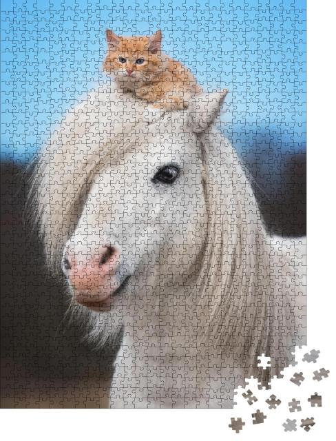 """Puzzle 1000 Teile """"Kleines rotes Kätzchen auf dem Kopf eines weißen Shetlandponys"""""""