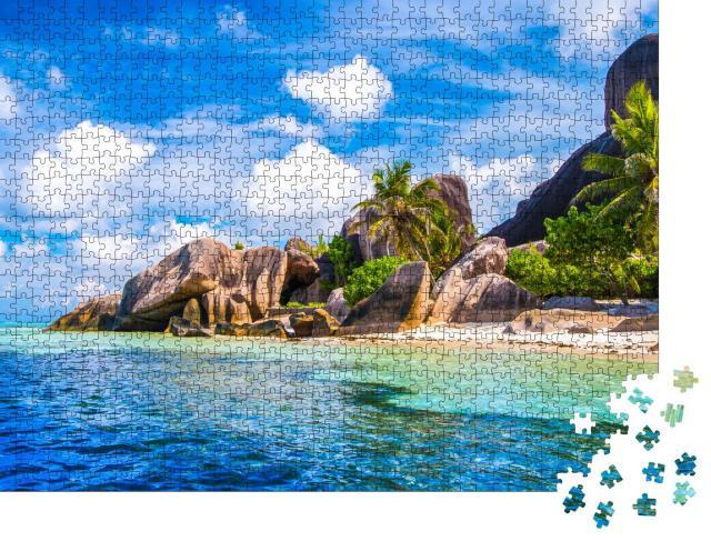"""Puzzle 1000 Teile """"Source d'Argent: berühmtester Strand der Seychellen, La Digue"""""""