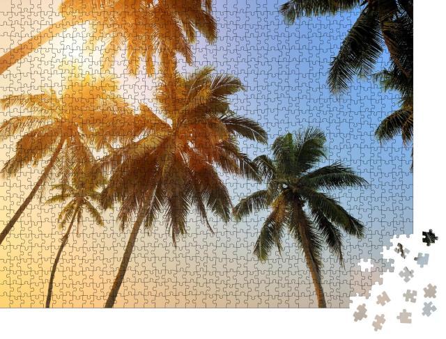 """Puzzle 1000 Teile """"Schöner tropischer Sonnenuntergang mit Palmen am Strand"""""""