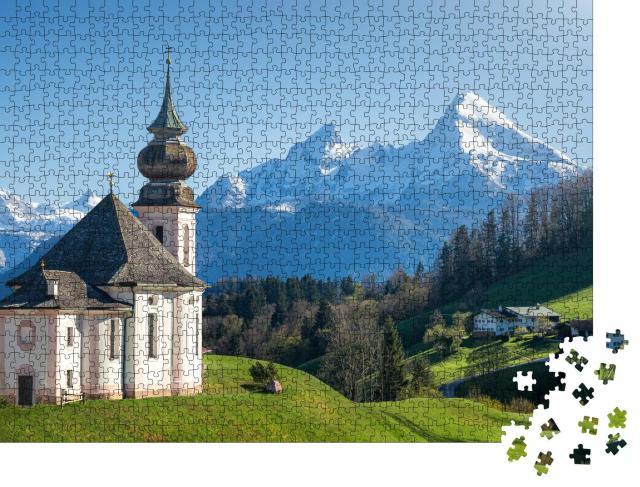 """Puzzle 1000 Teile """"Schneebedeckter Watzmann-Gipfel und Maria Gern, Berchtesgadener Land"""""""