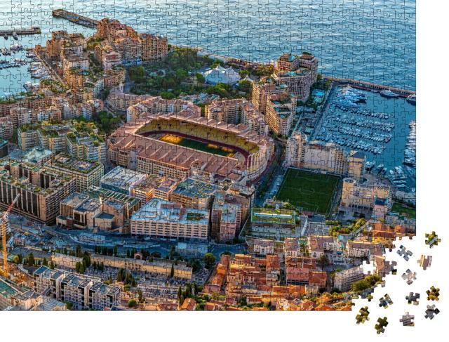 """Puzzle 1000 Teile """"Luftaufnahme des Stadions von Monaco bei Sonnenaufgang"""""""