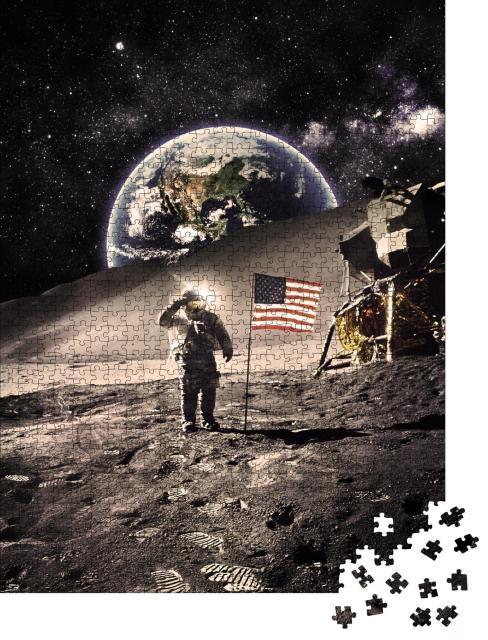 "Puzzle 1000 Teile ""Vintage -Astronaut mit Flagge auf dem Mond, NASA-Bildmaterial"""