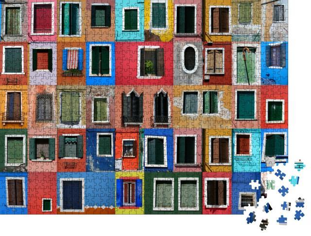"""Puzzle 1000 Teile """"Collage der bunten Häusern von Burano vor Venedig"""""""