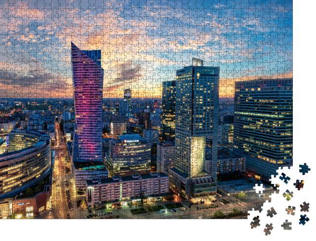"""Puzzle 1000 Teile """"Wolkenkratzer von Warschau bei Sonnenuntergang, Polen"""""""