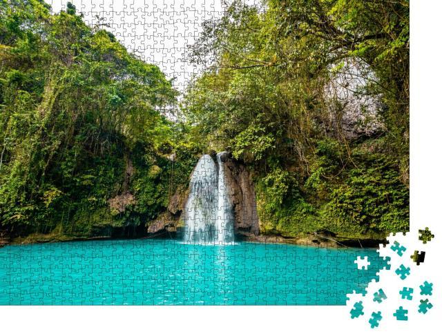 """Puzzle 1000 Teile """" Türkisfarbene Kawasan Falls auf der Insel Cebu, Philippinen"""""""