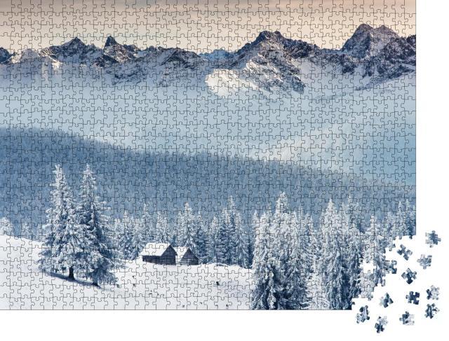 """Puzzle 1000 Teile """"Winterlich verschneites Bergpanorama"""""""
