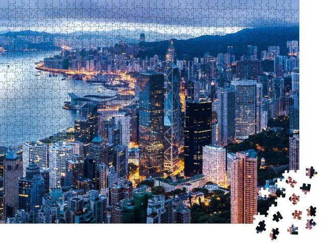 """Puzzle 1000 Teile """"Hongkong in der Dämmerung"""""""