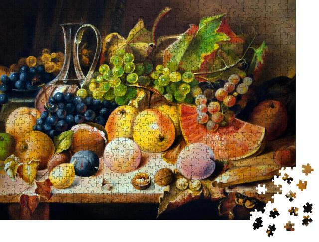 """Puzzle 1000 Teile """"Stillleben mit Pfirsichen, Äpfeln und Weintrauben, Ölgemälde"""""""