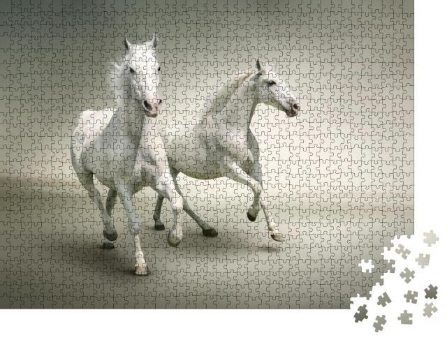 """Puzzle 1000 Teile """"Weiße Pferde"""""""