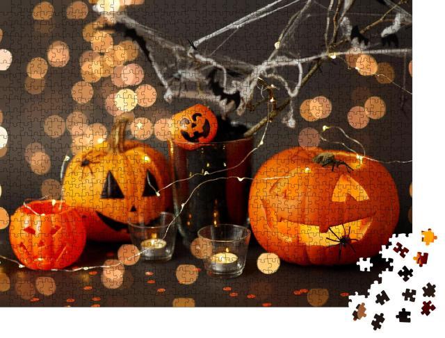 """Puzzle 1000 Teile """"Lustige Halloween-Dekoration mit Jack-o-Lantern und Spinnweben"""""""