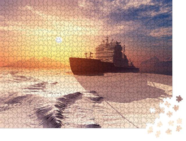 """Puzzle 1000 Teile """"3D Rendering: Eisbrecher auf dem Eis im Meer"""""""