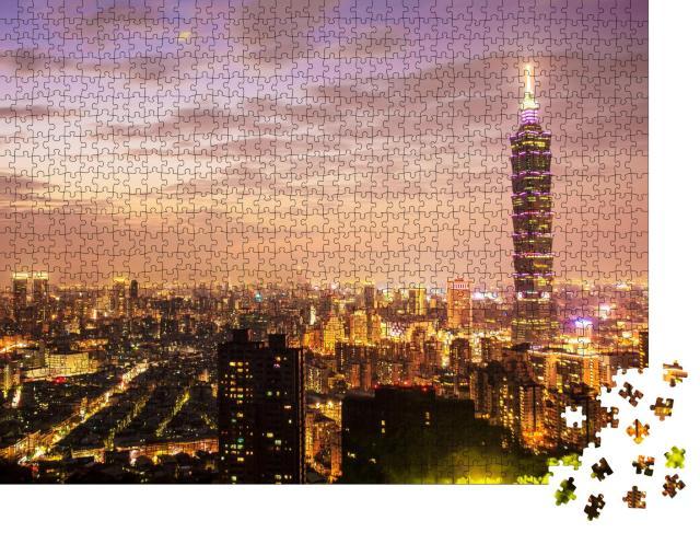 """Puzzle 1000 Teile """"Skyline von Taipeh bei Sonnenuntergang mit dem berühmten Taipei 101"""""""