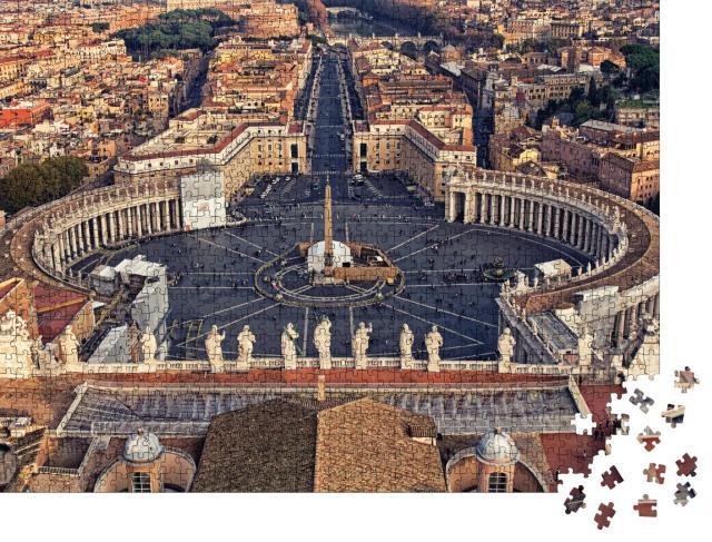 """Puzzle 1000 Teile """"Blick auf die Piazza San Pietro in der Vatikanstadt"""""""