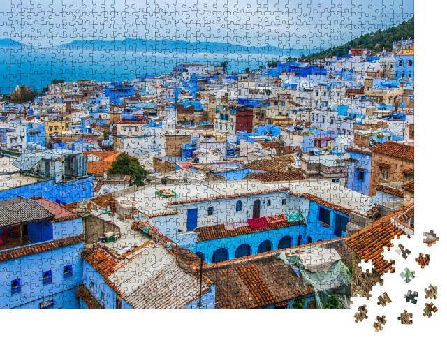 """Puzzle 1000 Teile """"Blaue Stadt Chefchaouen im Rif-Gebirge, Marokko"""""""