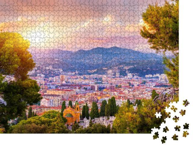 """Puzzle 1000 Teile """" Luftaufnahme von Nizza, Cote d'Azur bei Sonnenuntergang, Frankreich"""""""