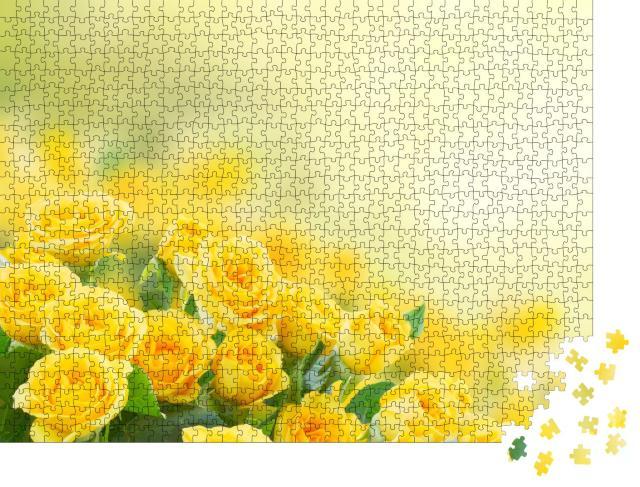 """Puzzle 1000 Teile """"Frische gelbe Rosen"""""""
